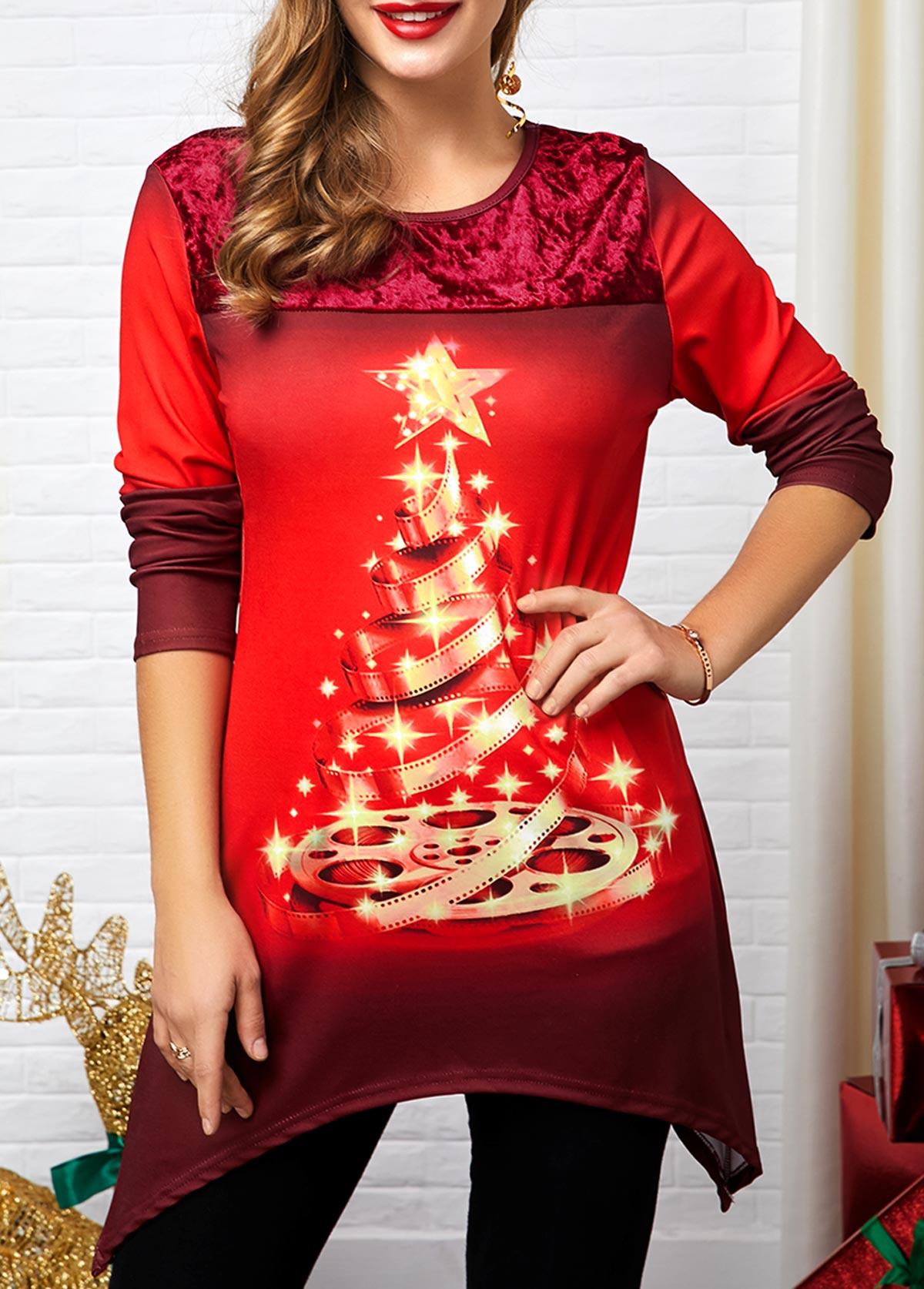 Christmas Tree Print Sharkbite Hem T Shirt