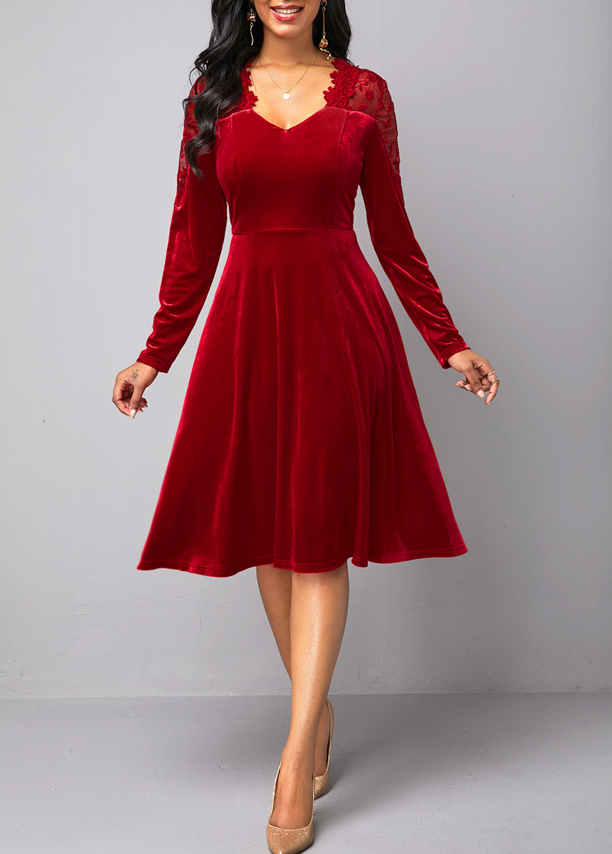 Wine Red Lace Panel Back Zipper Velvet Dress