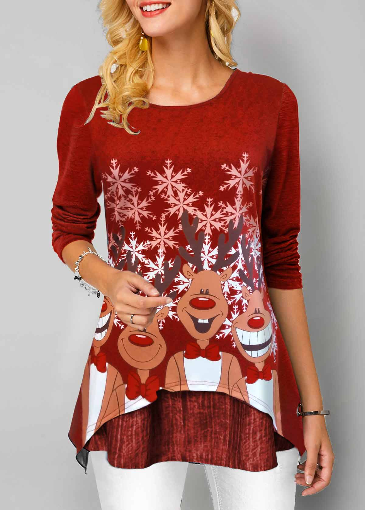 Christmas Print Long Sleeve Red T Shirt
