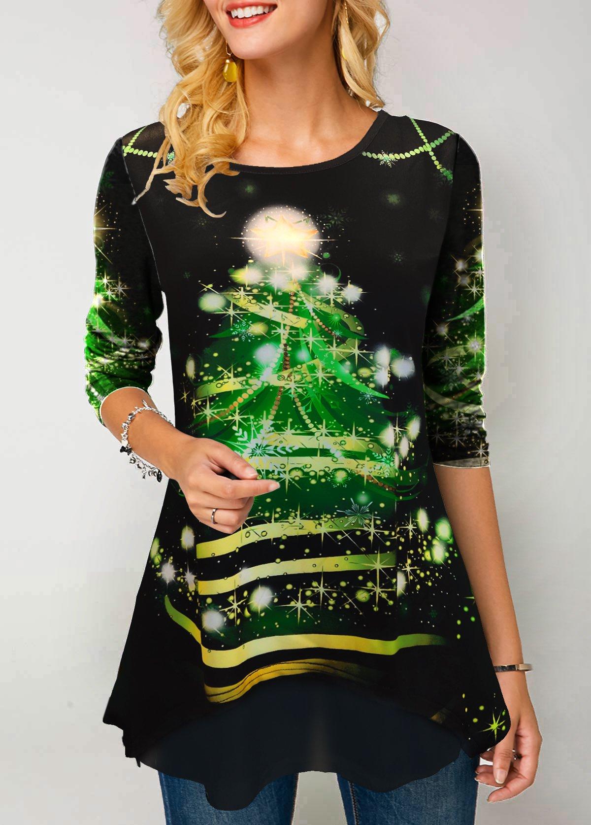 Christmas Print Round Neck Three Quarter Sleeve T Shirt