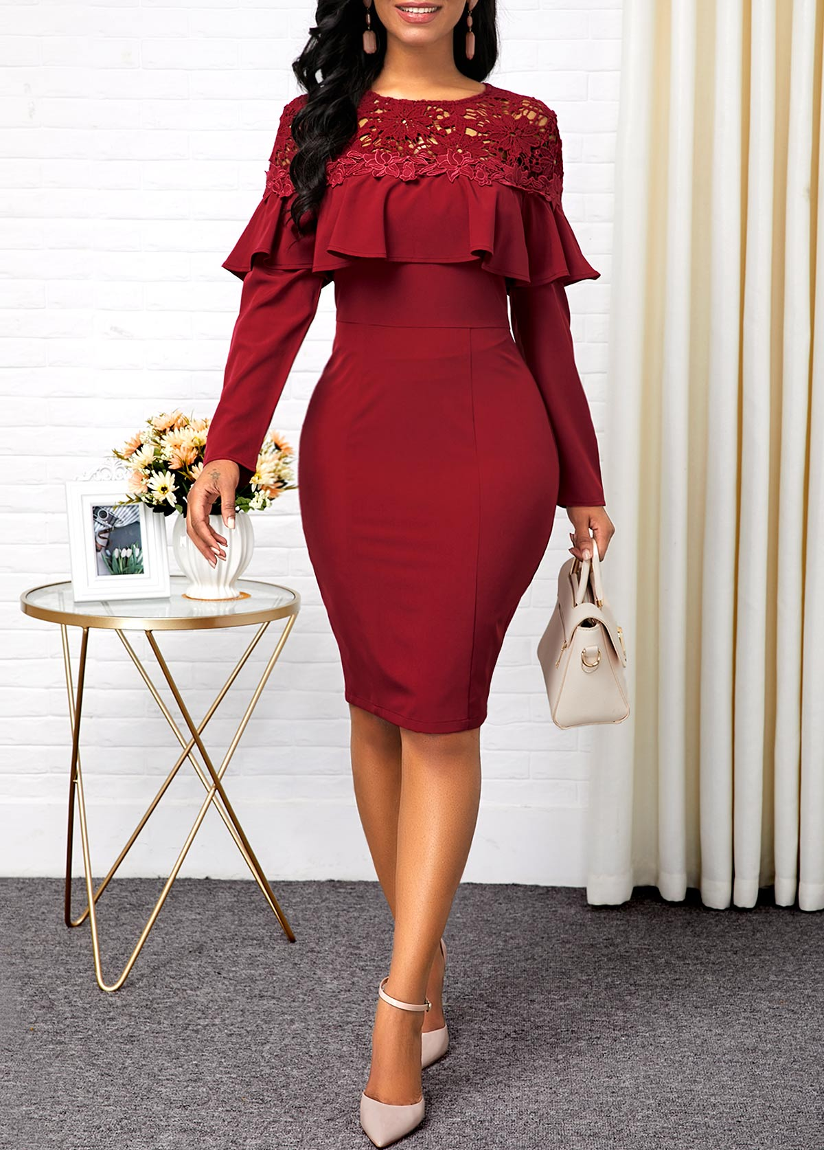 Lace Panel Ruffle Hem Back Slit Sheath Dress
