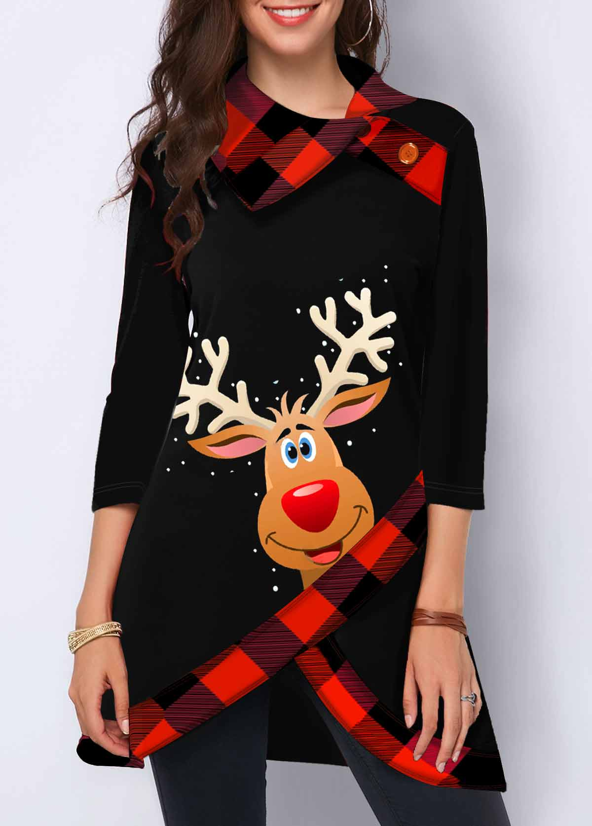 Crossover Hem Christmas Elk Print Button Detail Sweatshirt
