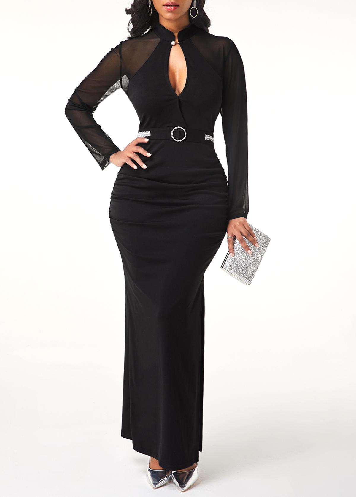 Side Slit Mesh Patchwork Black Dress