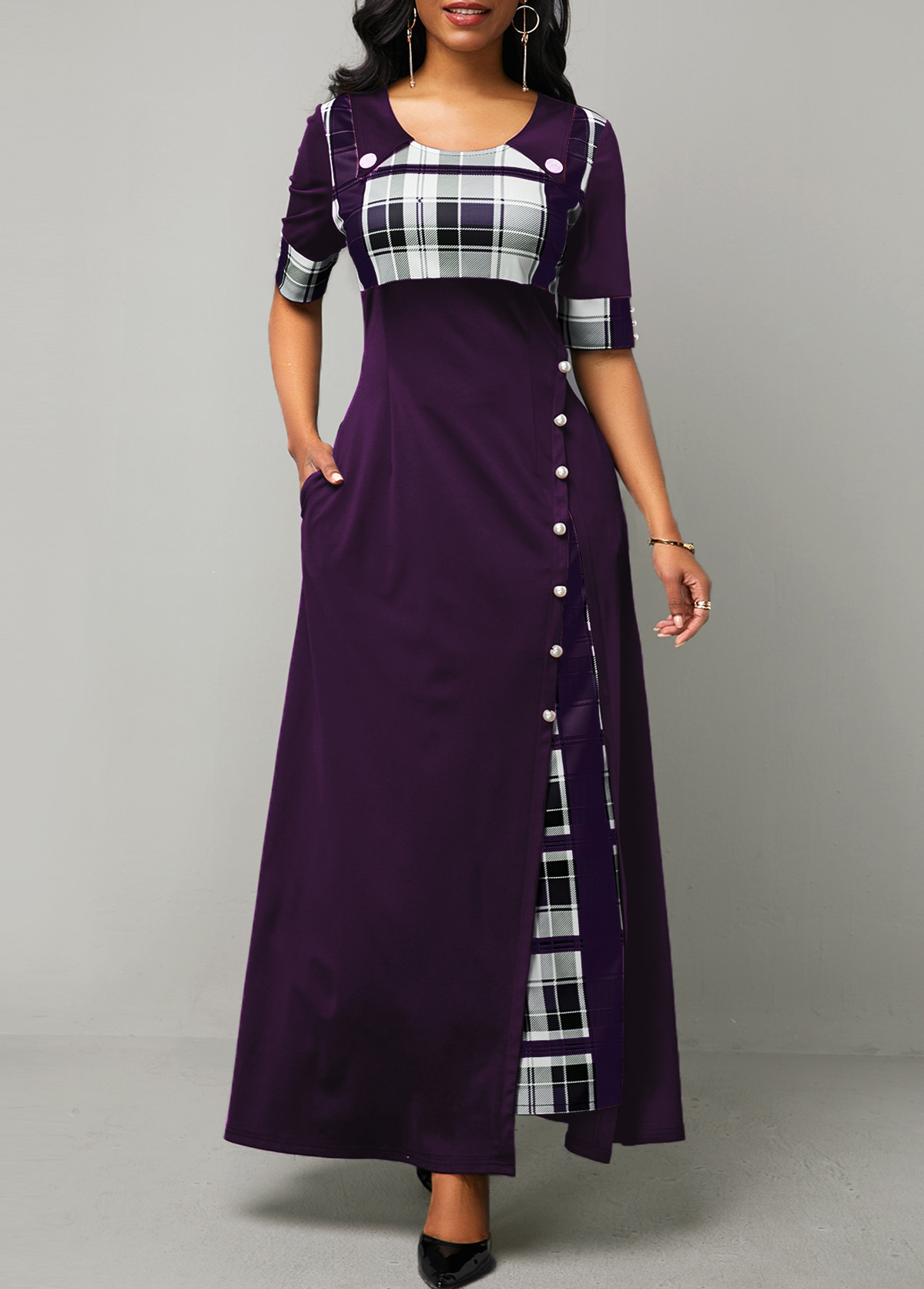 Plaid Print Button Detail Half Sleeve Maxi Dress