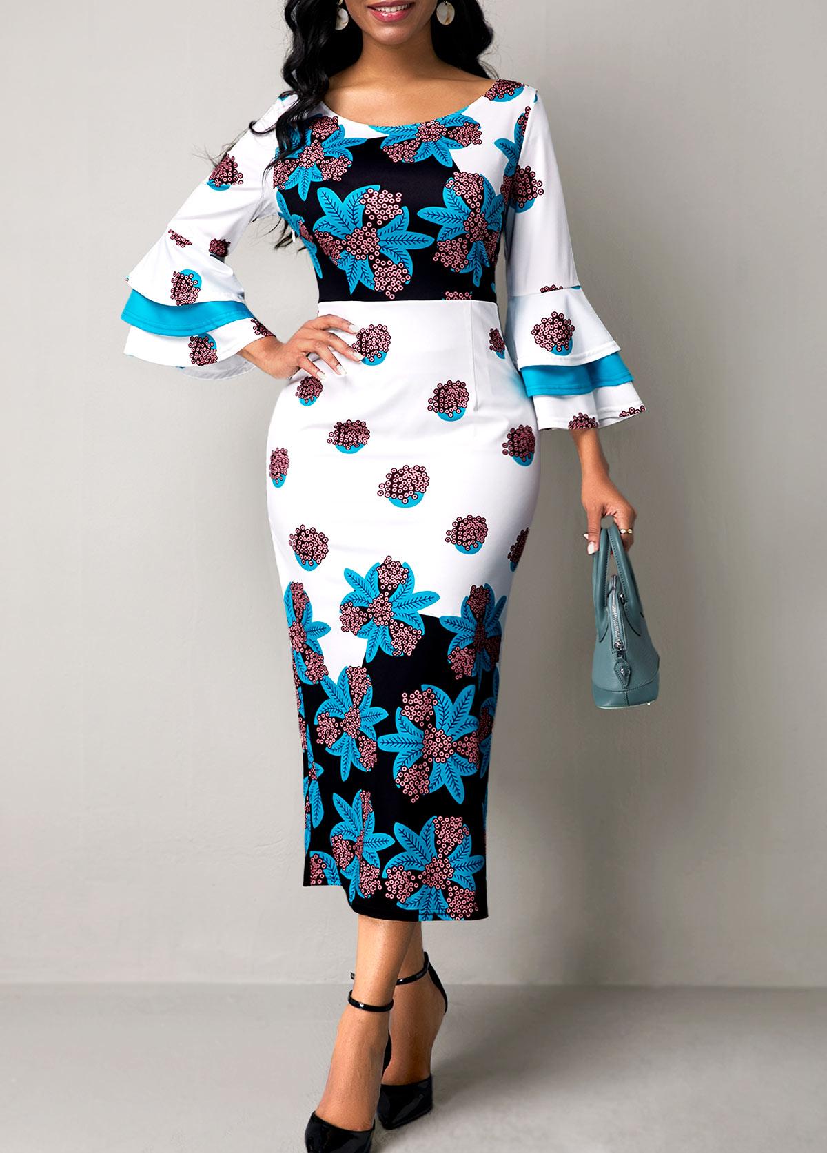 Flower Print Flare Sleeve Round Neck Dress