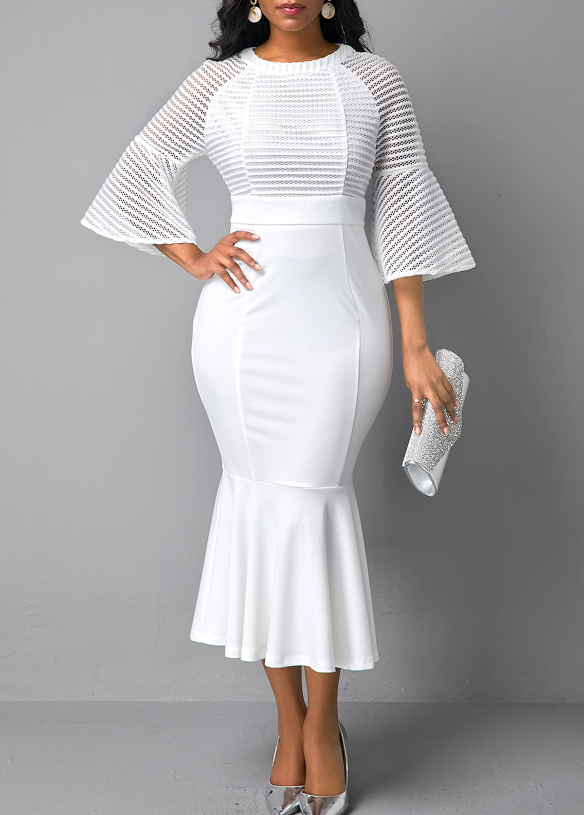 Mesh Panel Flare Sleeve White Mermaid Dress