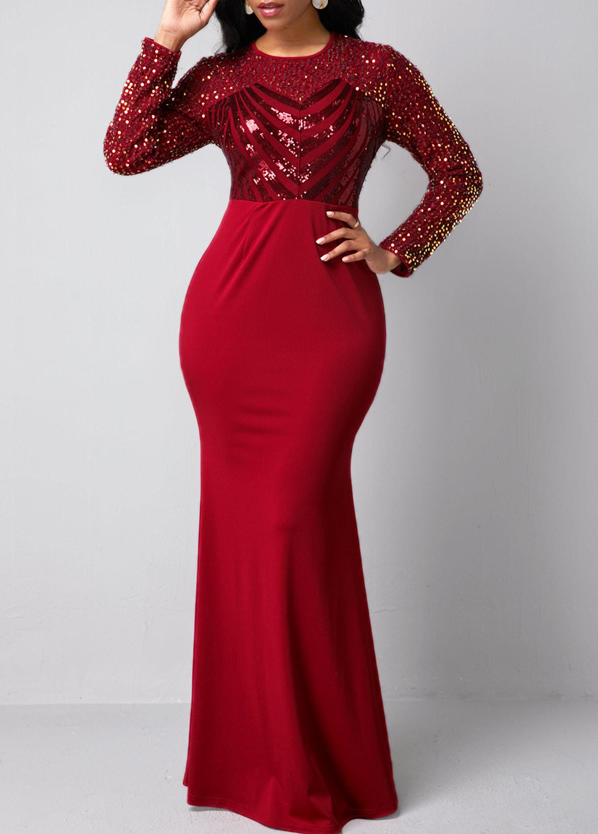 Sequin Detail Red Long Sleeve Mermaid Dress