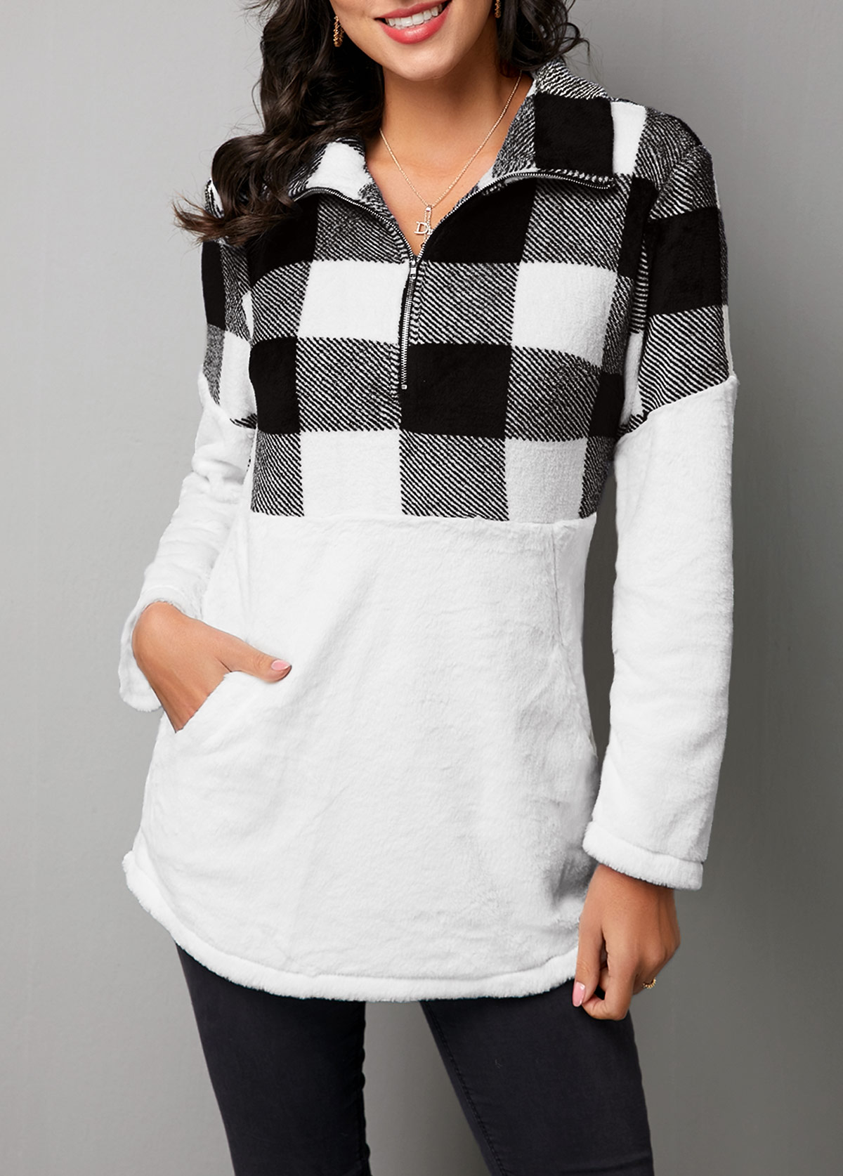 Turndown Collar Plaid Patchwork Long Sleeve Sweatshirt