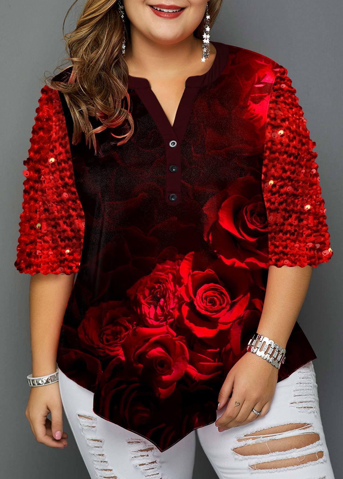 Plus Size Rose Print Sequin Detail Christmas T Shirt