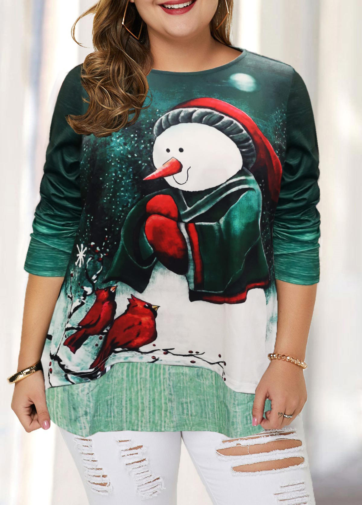 Christmas Print Plus Size Long Sleeve T Shirt