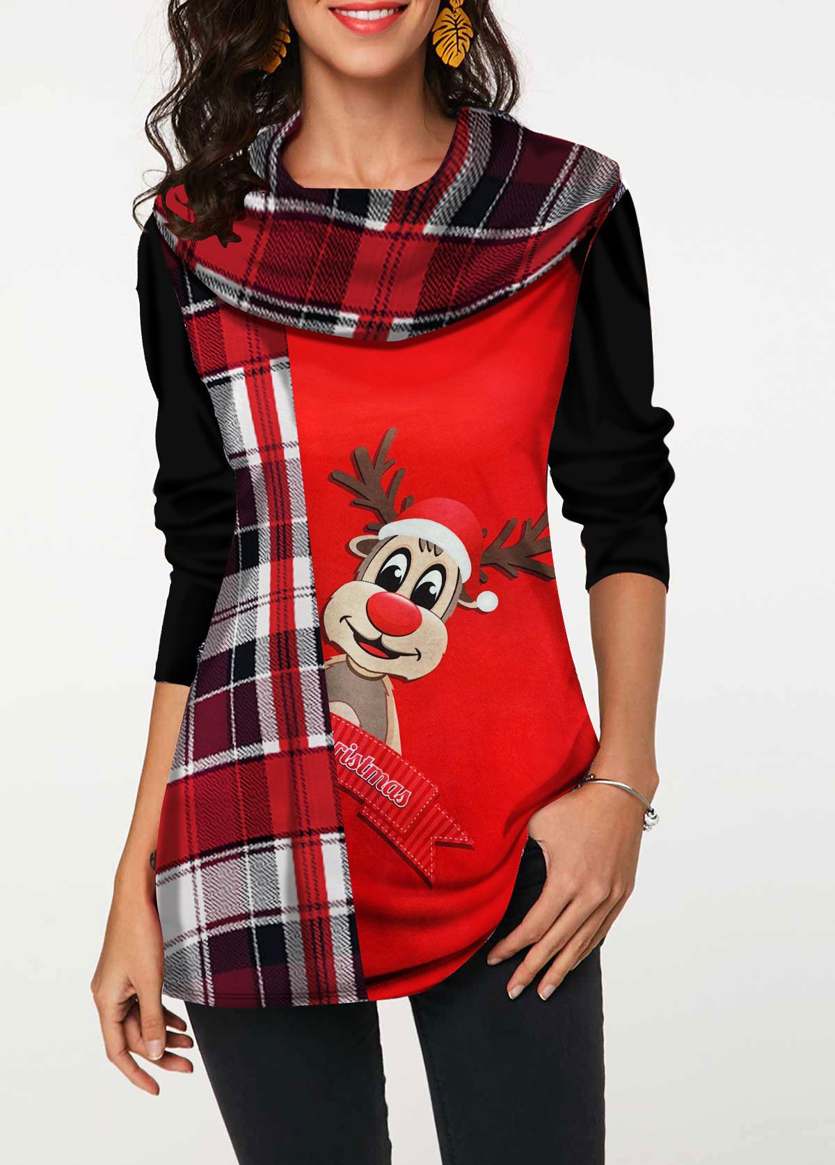 Christmas Elk and Plaid Print Long Sleeve Tunic Top