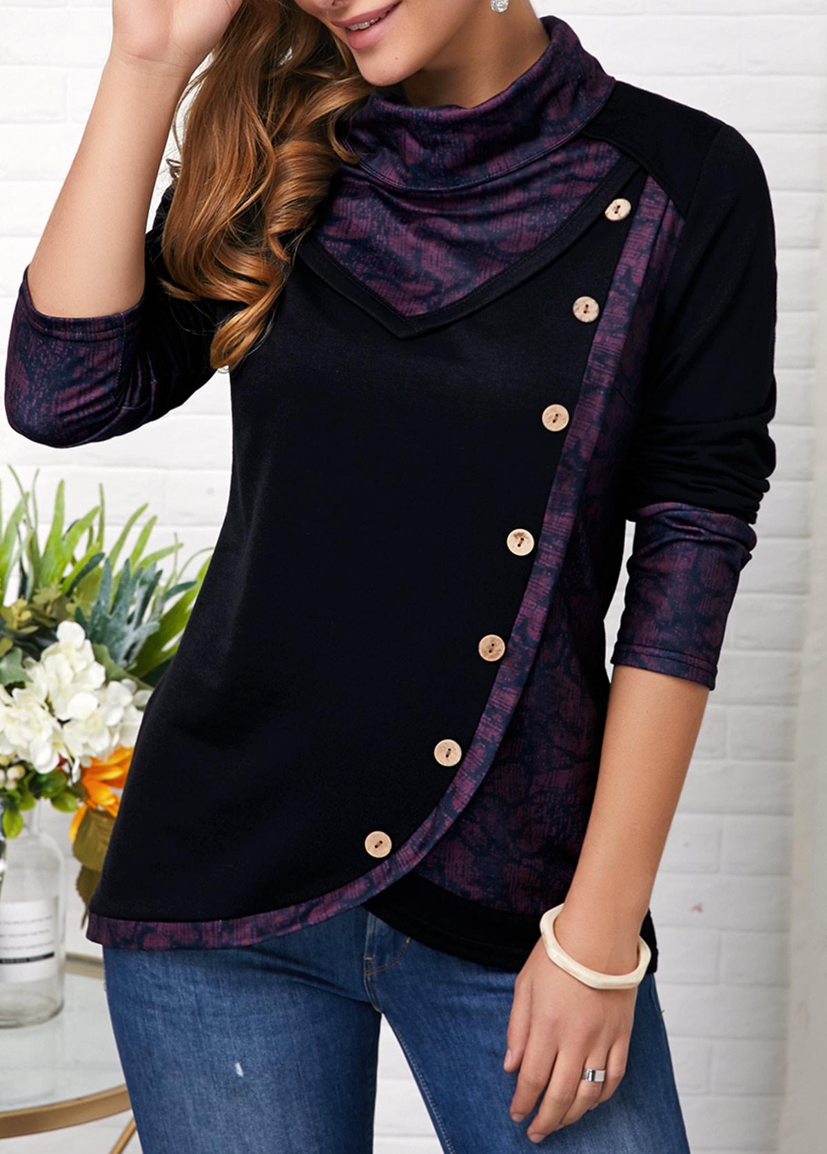 Long Sleeve Button Detail Asymmetric Hem Sweatshirt