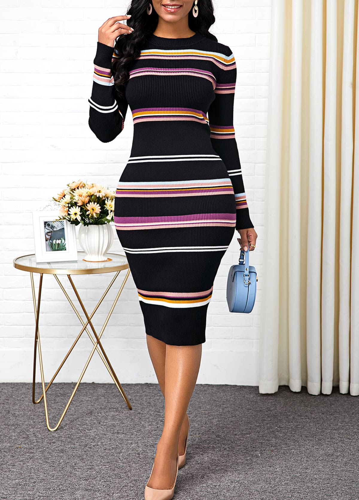 Striped Round Neck Long Sleeve Sweater Dress