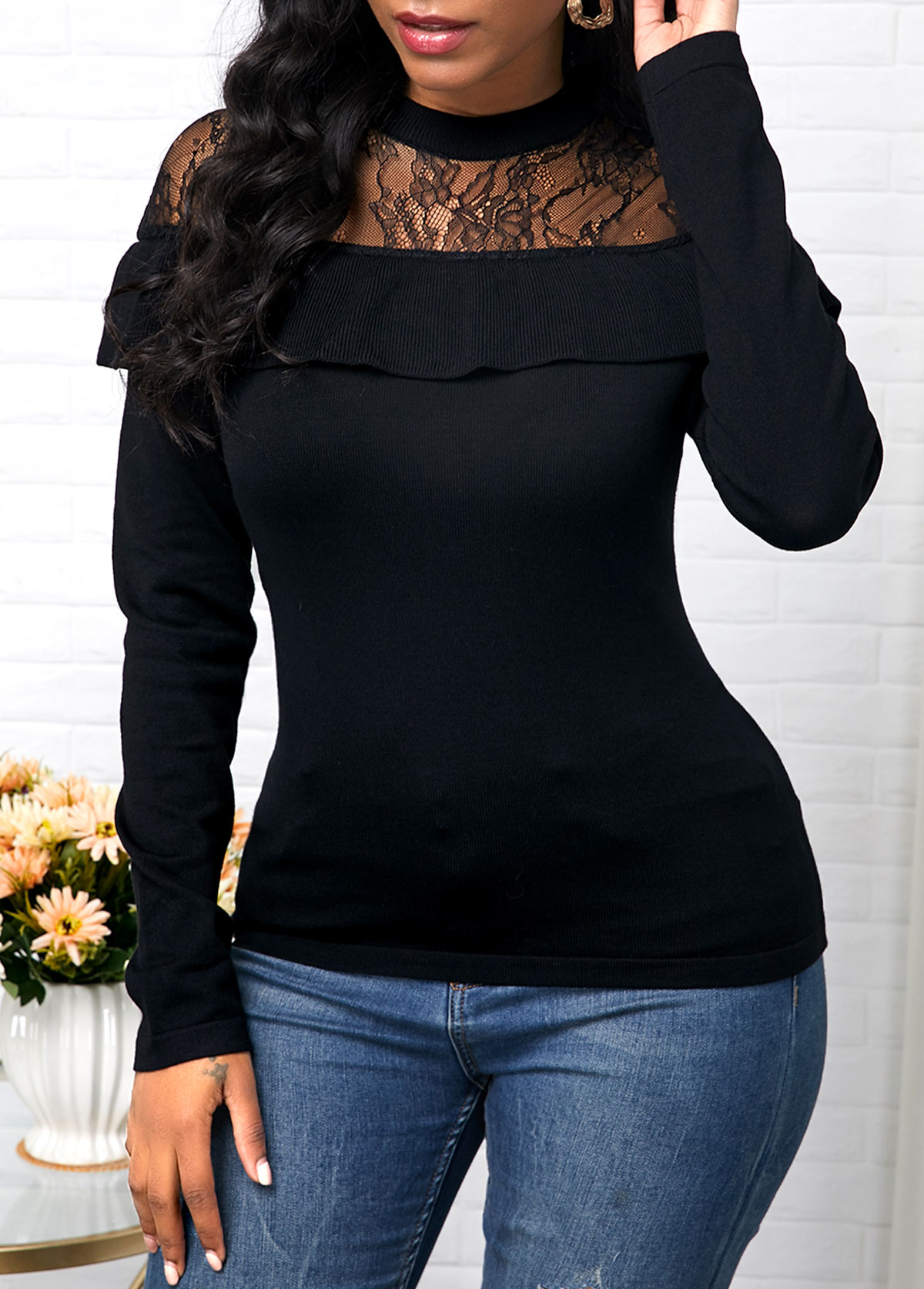 Lace Patchwork Ruffle Decorated Black Sweater