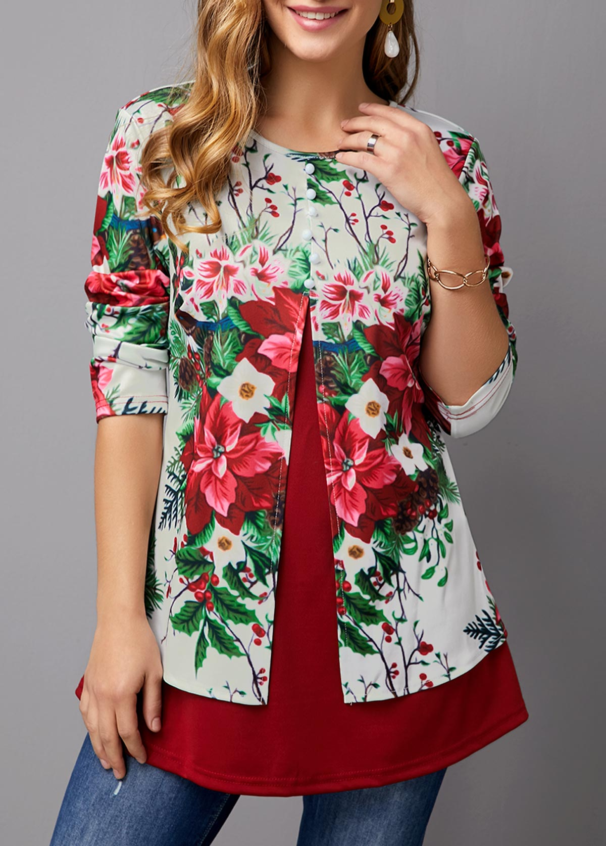 Flower Print Faux Two Piece T Shirt