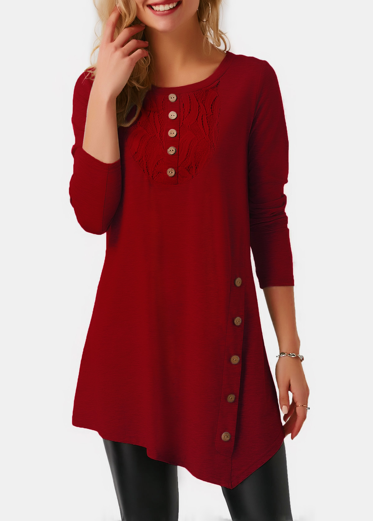 Asymmetric Hem Long Sleeve Button Front T Shirt