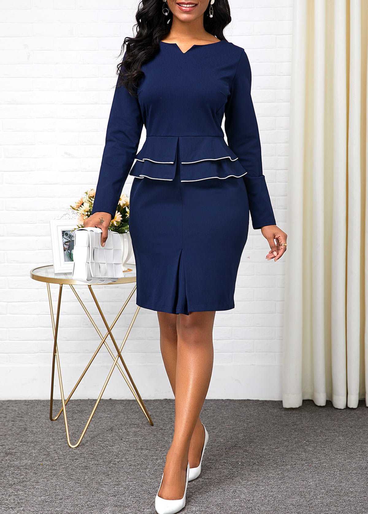 Long Sleeve Split Neck Peplum Waist Dress