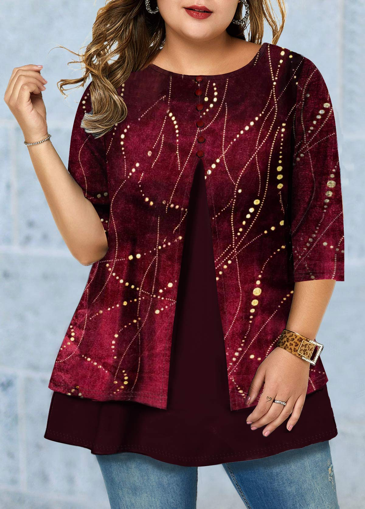 Plus Size Three Quarter Sleeve Button Front T Shirt