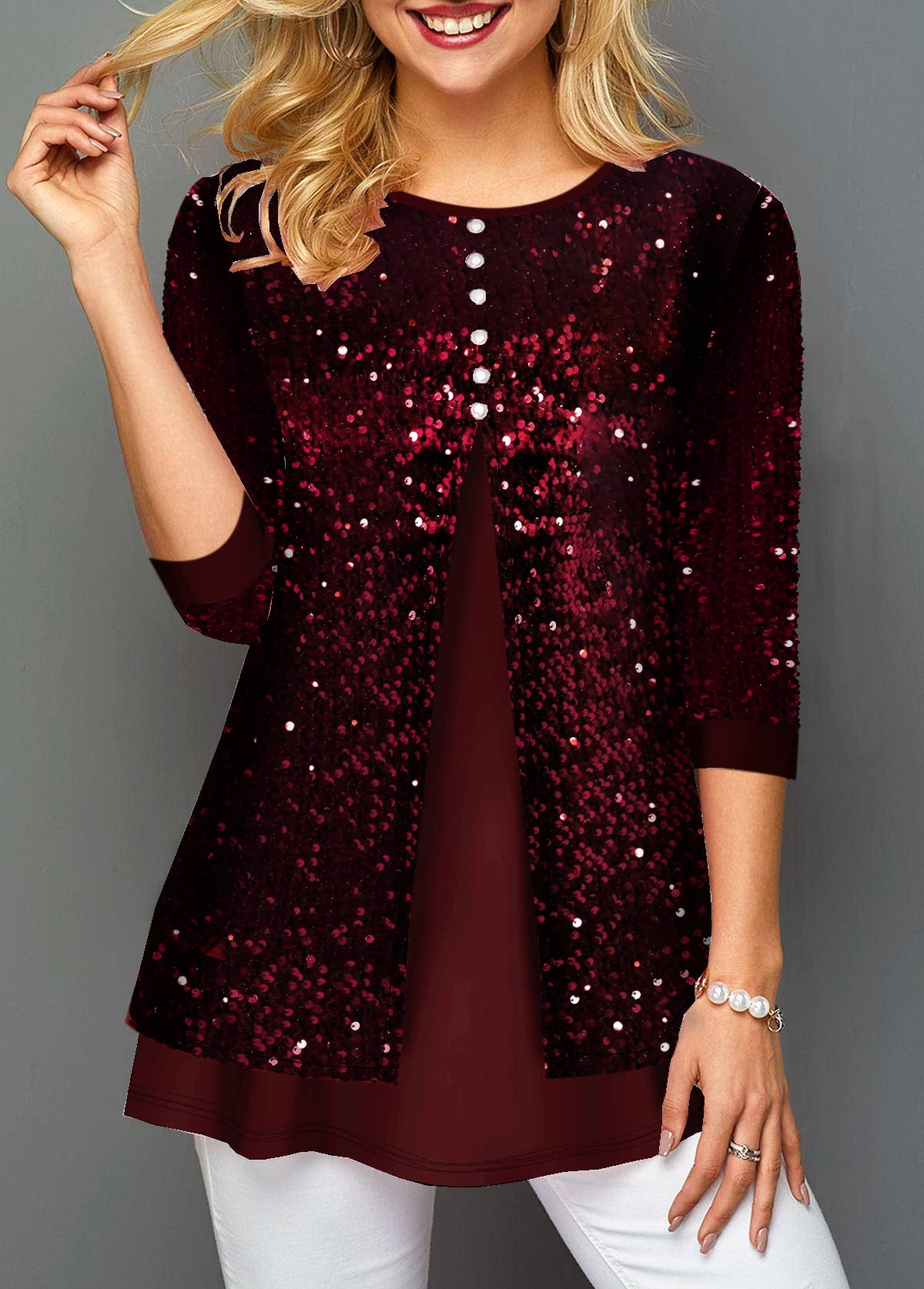 Sequin Panel Button Detail Wine Red T Shirt