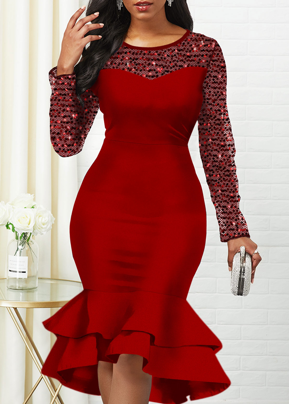Sequin Detail Mesh Panel Long Sleeve Mermaid Dress