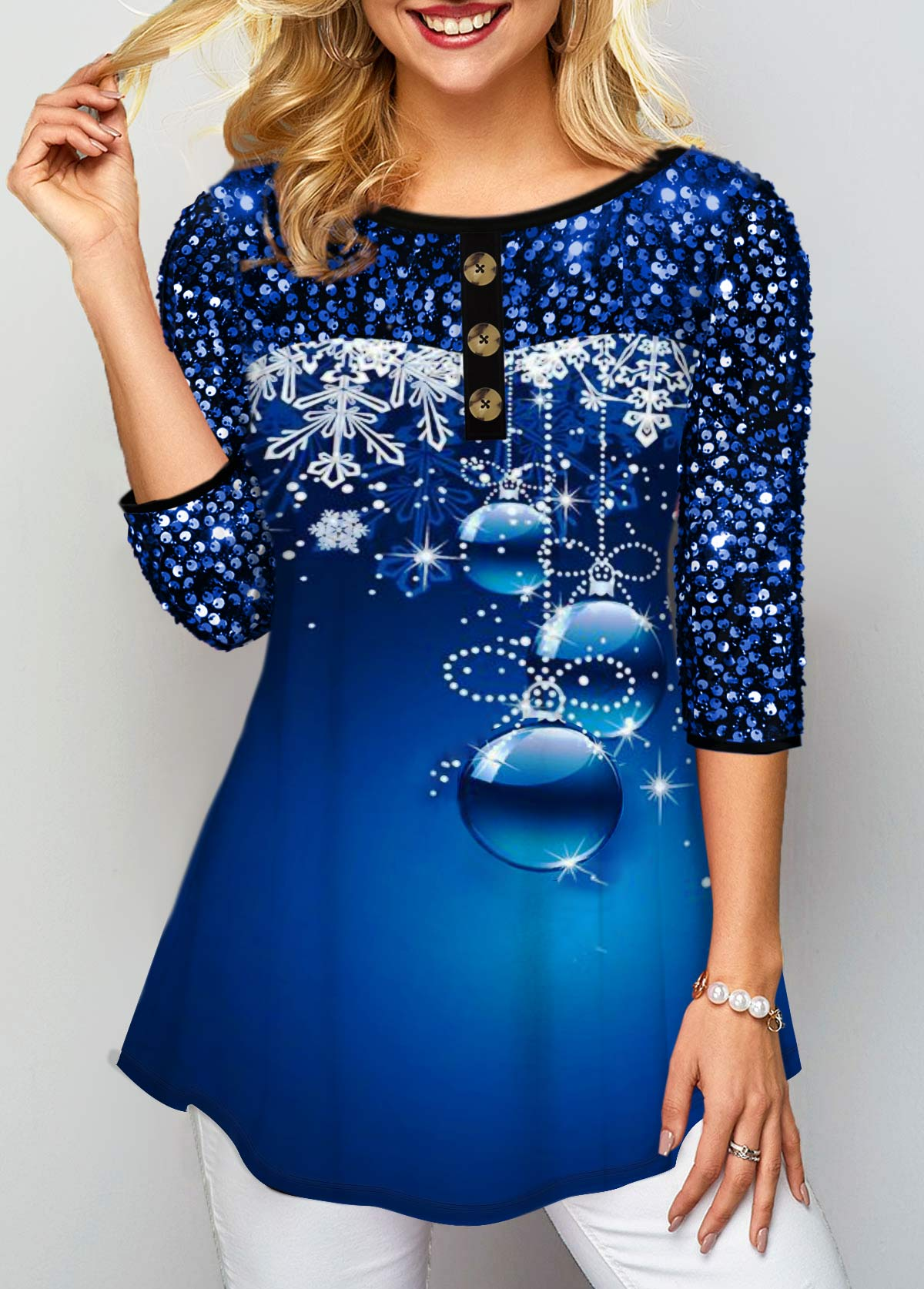 Sequin Embellished Button Detail Printed T Shirt