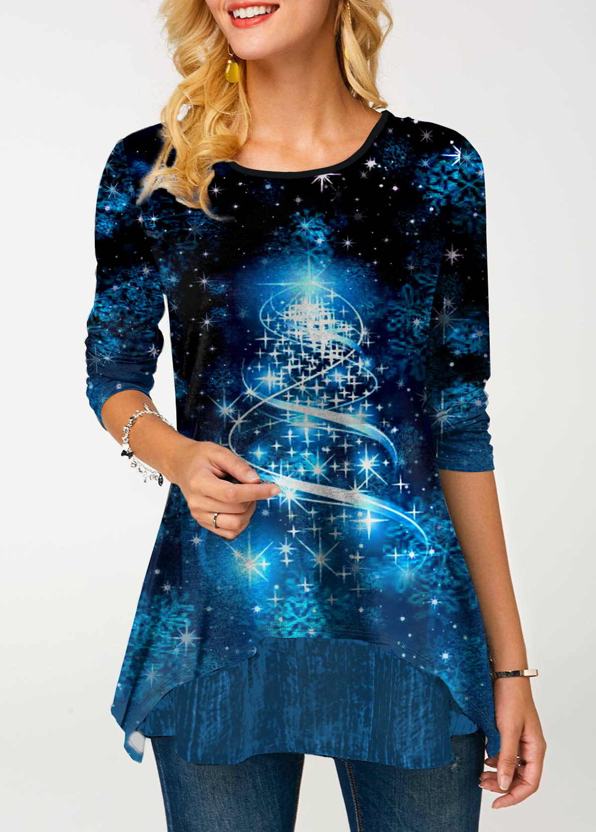 Starry Night Print Round Neck Long Sleeve T Shirt