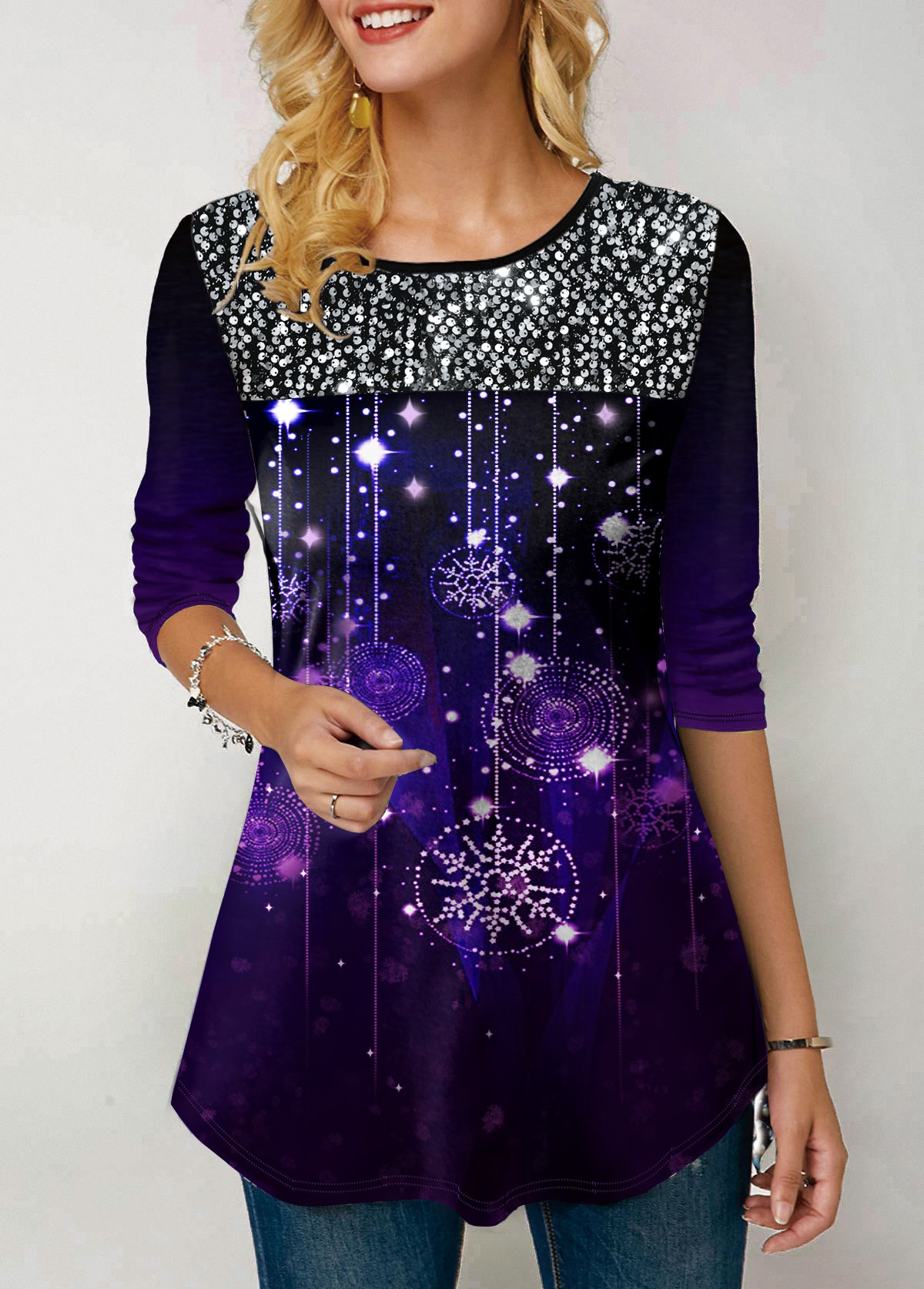 Snow Print Sequin Embellished Long Sleeve T Shirt