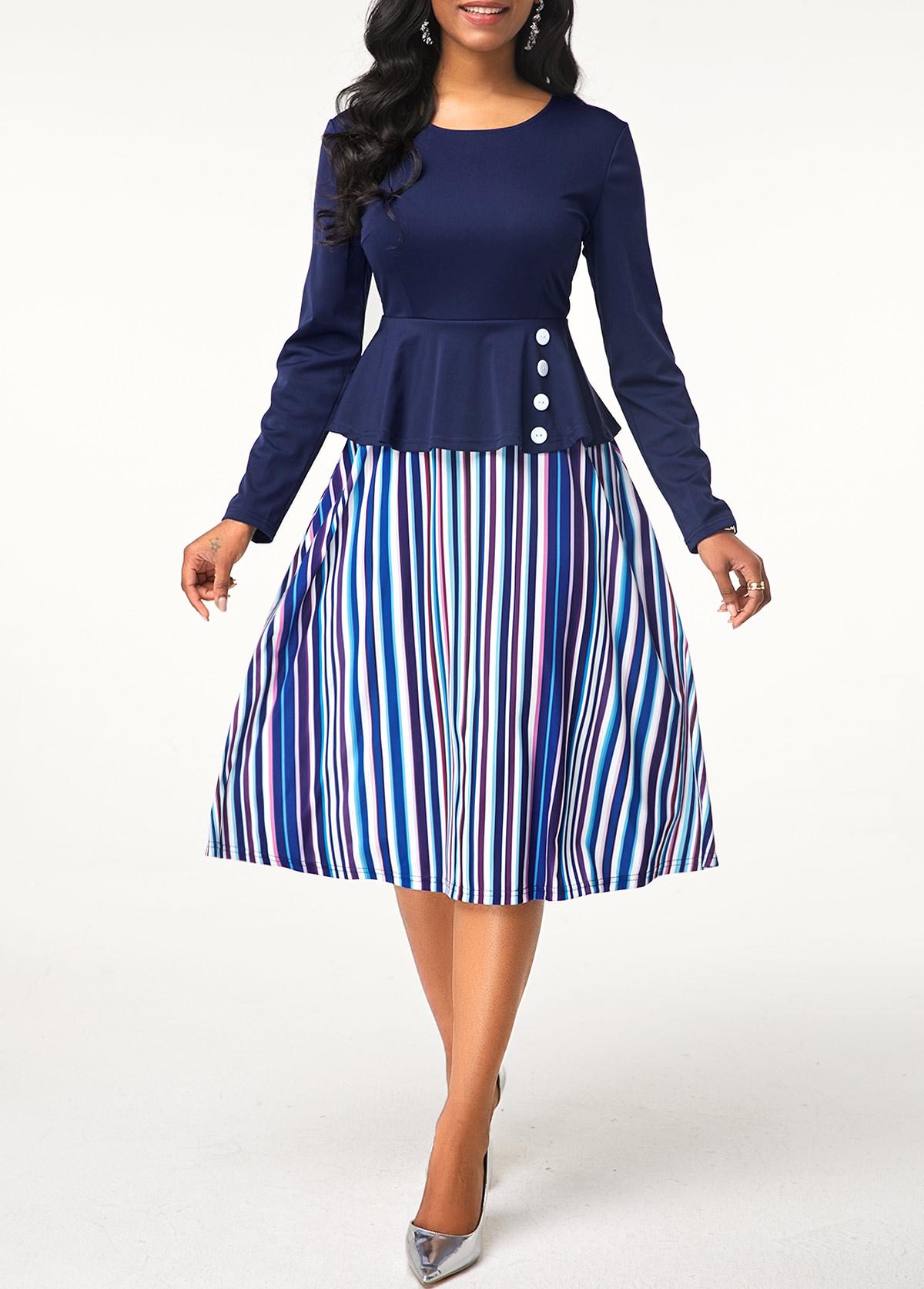 Stripe Print Button Detail Round Neck Dress