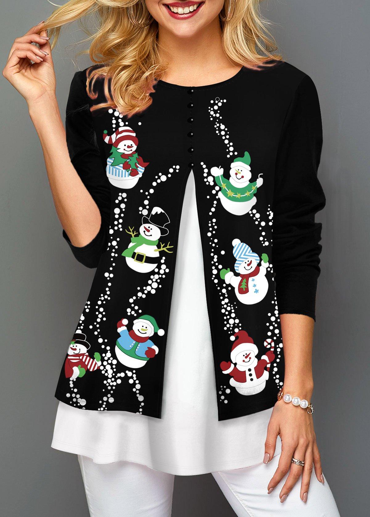 Christmas Snowman Print Contrast Panel Faux Two Piece T Shirt