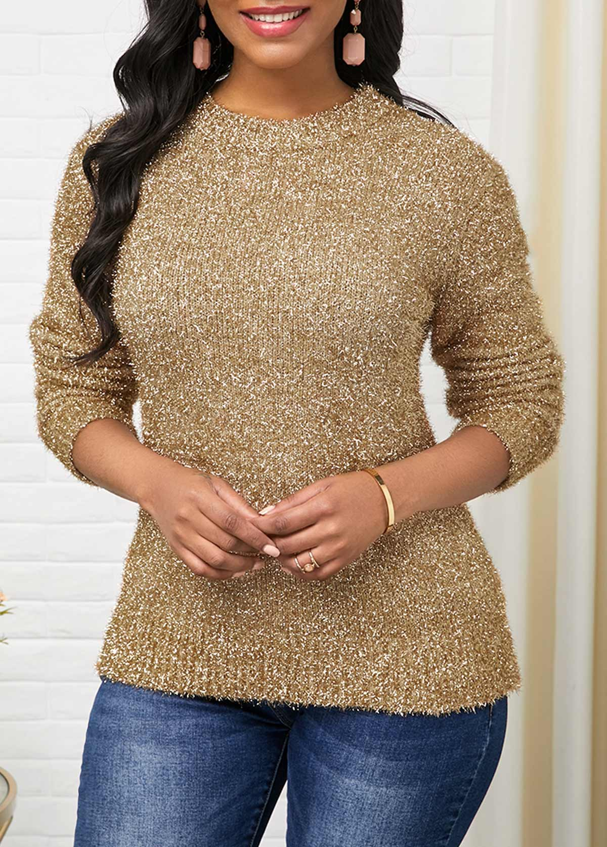 Long Sleeve Round Neck Gold Sweater