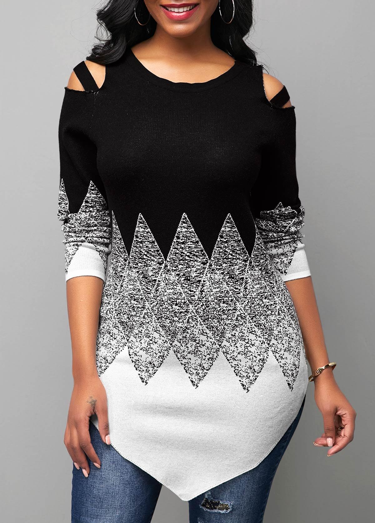 Cold Shoulder Round Neck Color Block Sweater