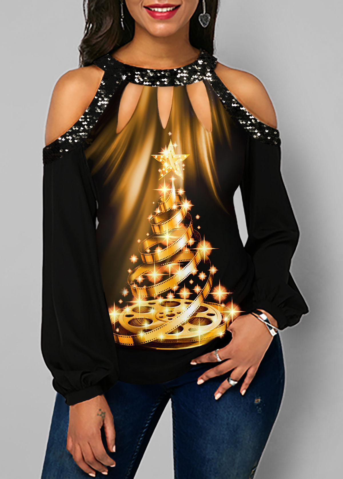 Christmas Tree Print Sequin Detail Cold Shoulder T Shirt