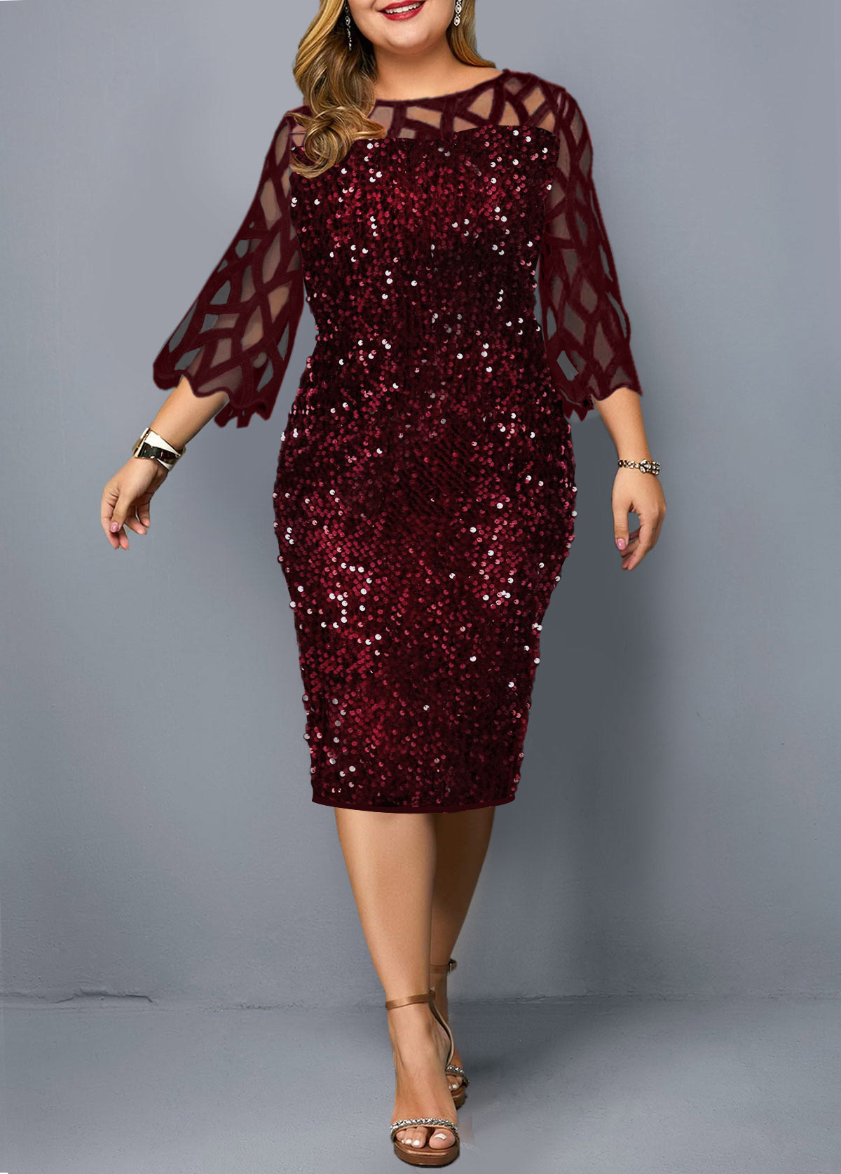 Plus Size Sequin Embellished Three Quarter Sleeve Dress