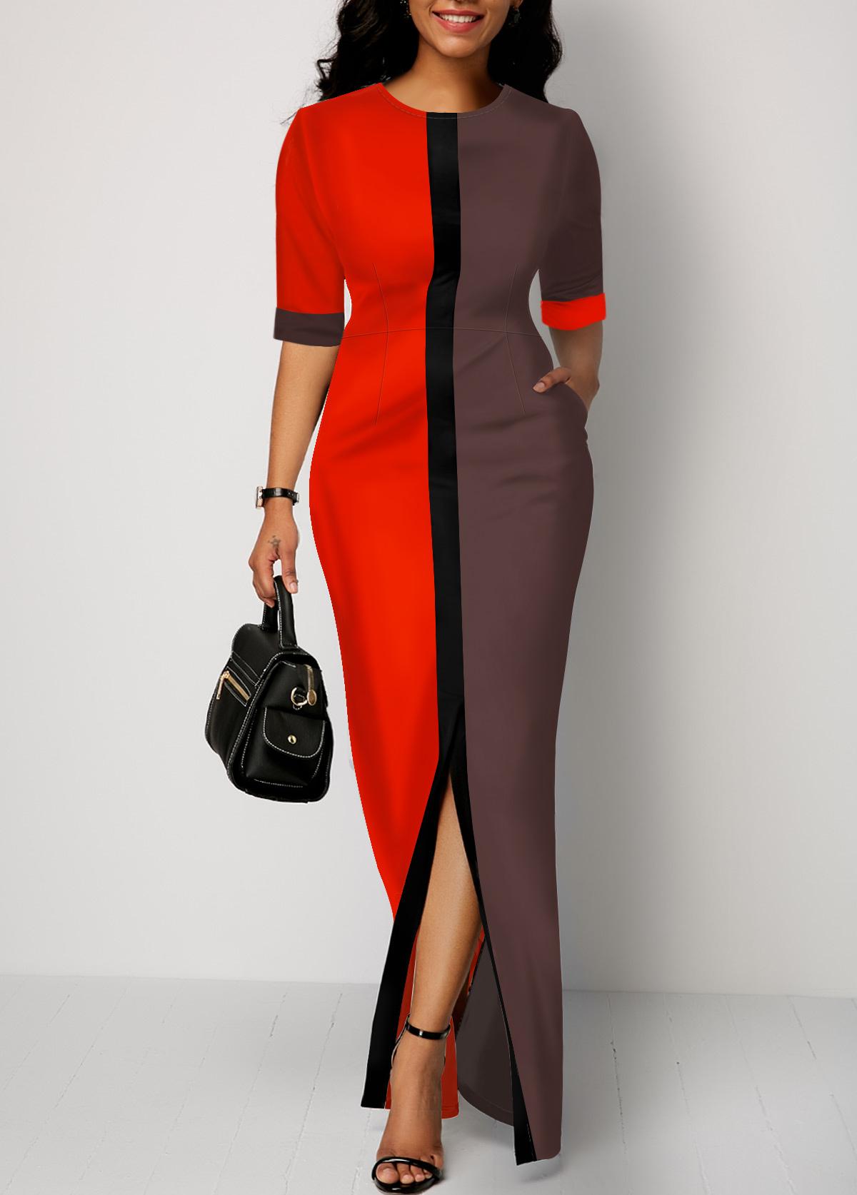 Half Sleeve Color Block Slit Front Dress