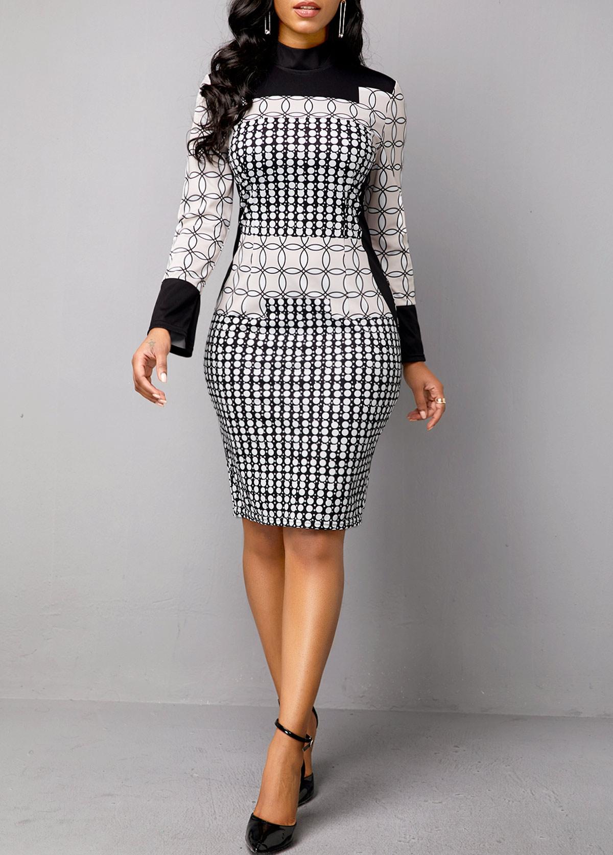 Mock Neck Geometric Print Long Sleeve Dress