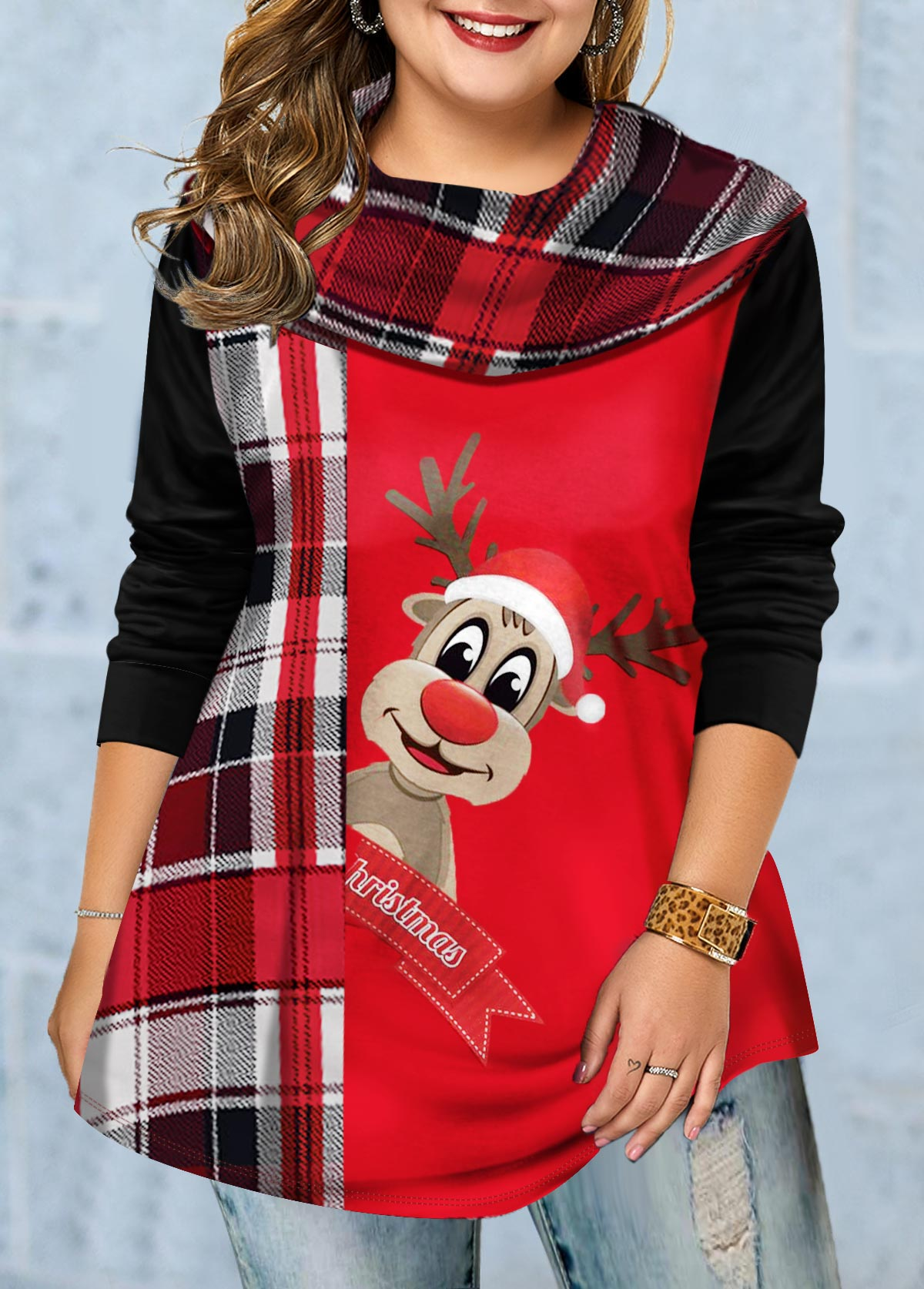 Plus Size Christmas Elk Print Long Sleeve Tunic Top