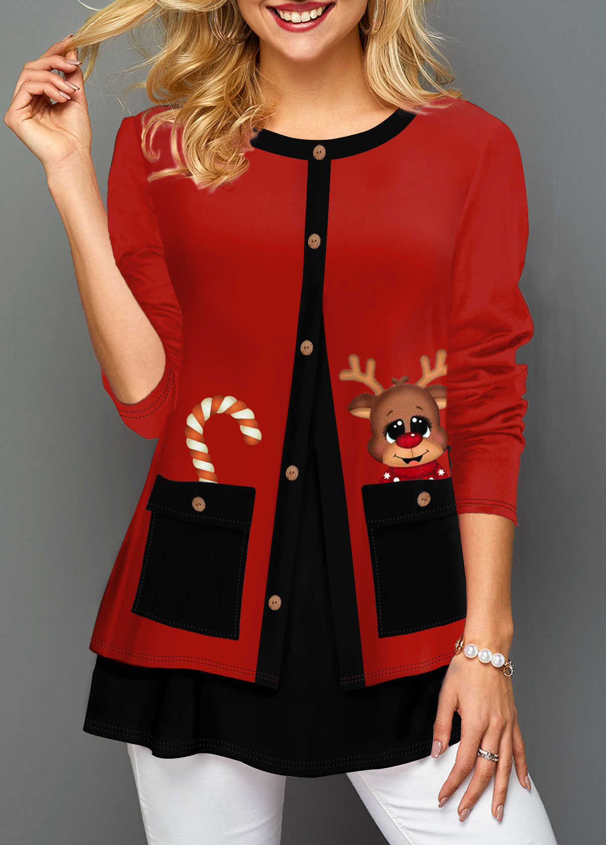 Christmas Reindeer Print Faux Two Piece T Shirt