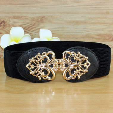 Elastic Waist Black Buckle Belt for Women