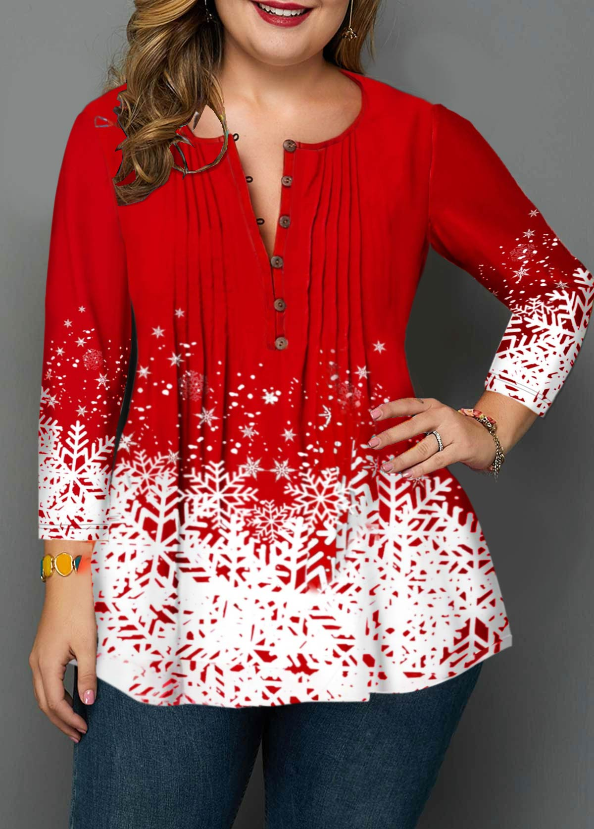 Plus Size Christmas Snowflake Print Crinkle Chest Blouse