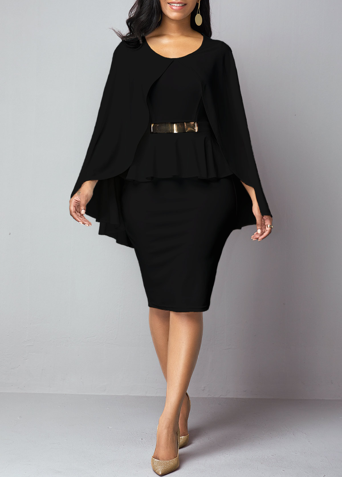 Faux Two Piece Black Poncho Dress