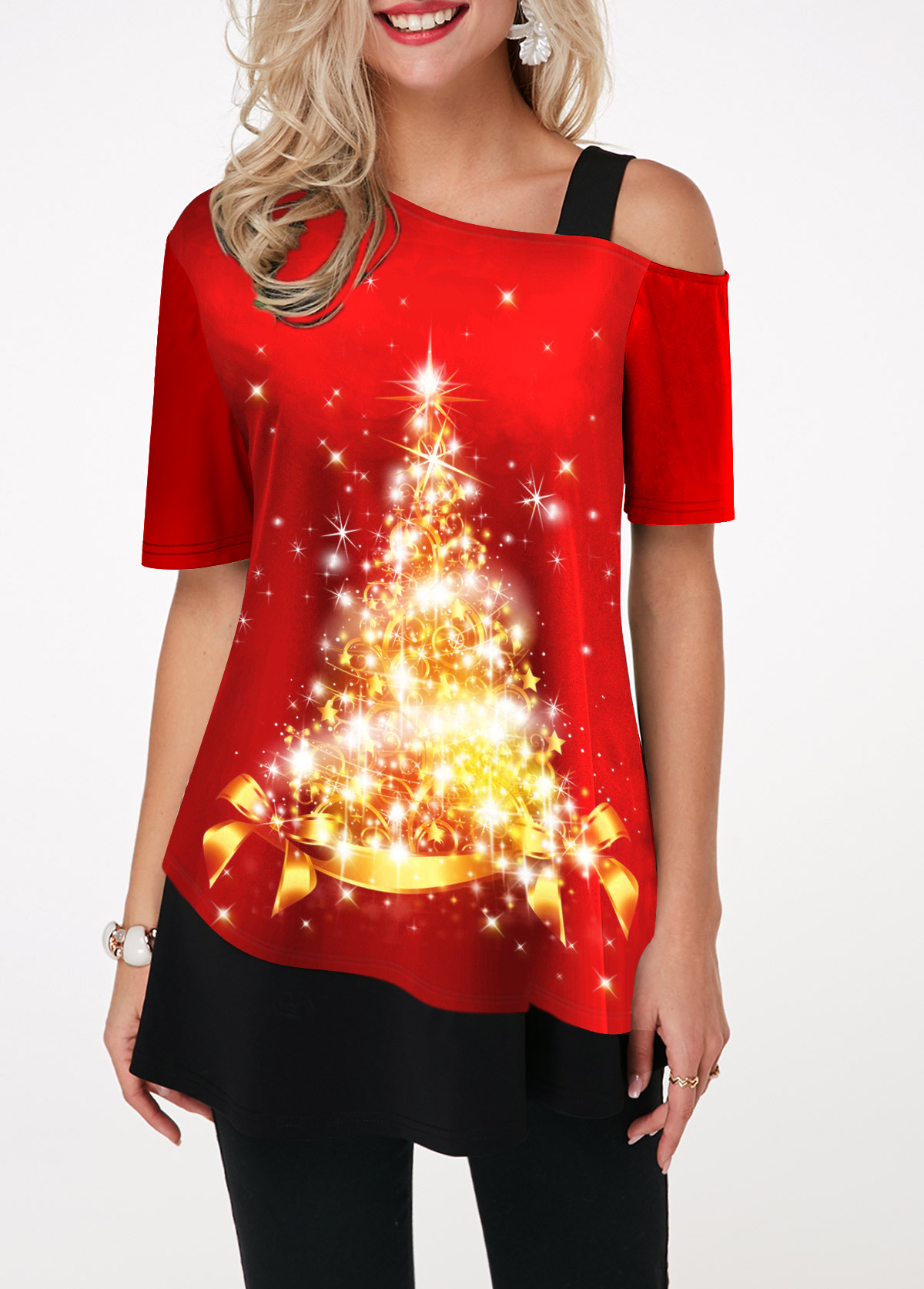 Christmas Tree Print Strappy Cold Shoulder T Shirt