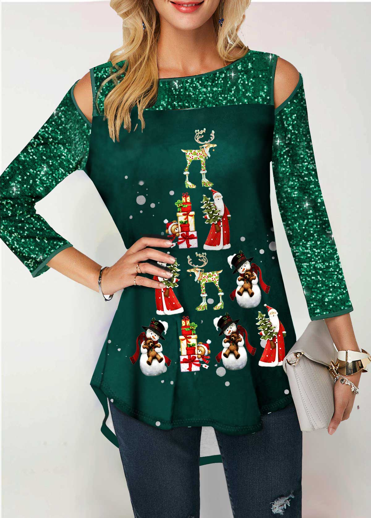 Sequin Panel Santa Claus and Snowman Print T Shirt