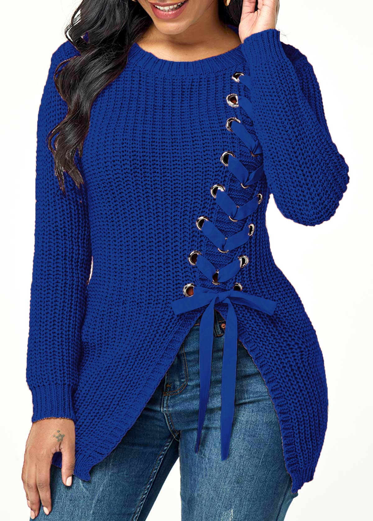 Lace Up Rib Knit Asymmetric Hem Sweater