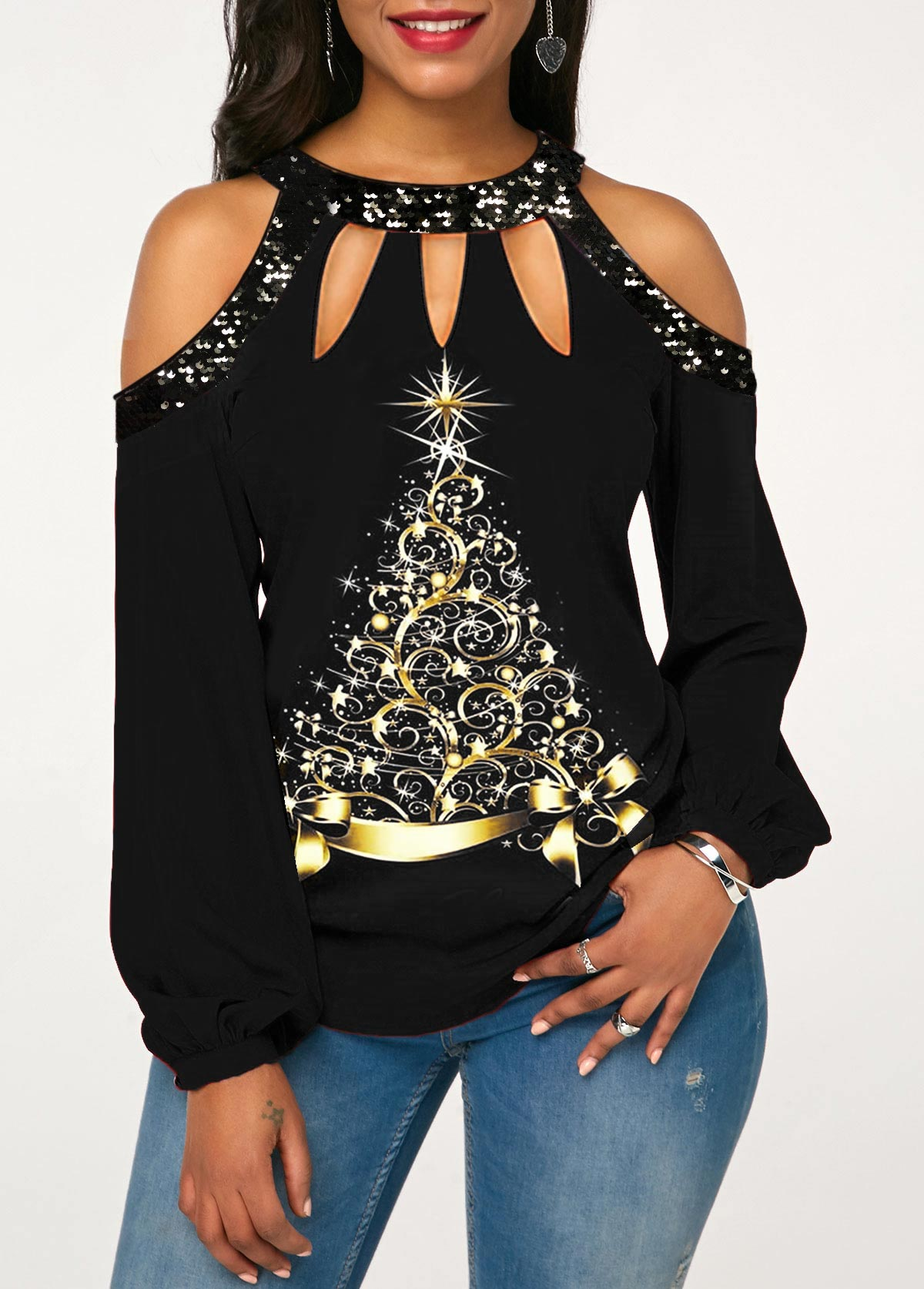 Sequin Detail Christmas Tree Print Cold Shoulder T Shirt