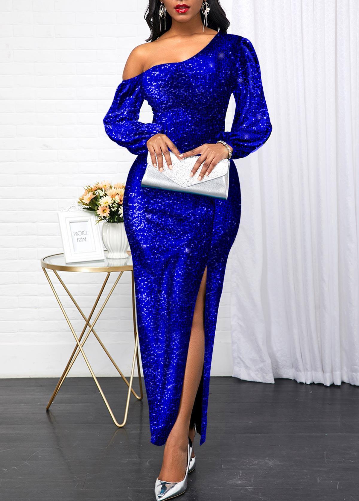 Sequin Panel Side Slit Royal Blue Maxi Dress