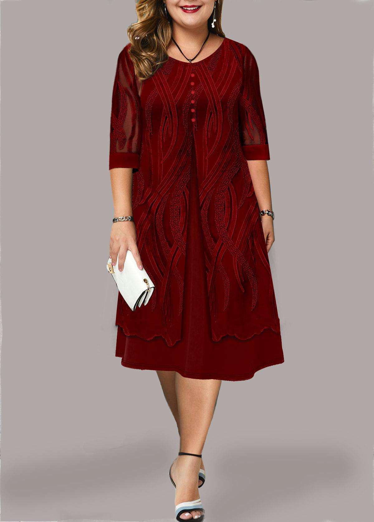 Plus Size Lace Panel Faux Two Piece Dress
