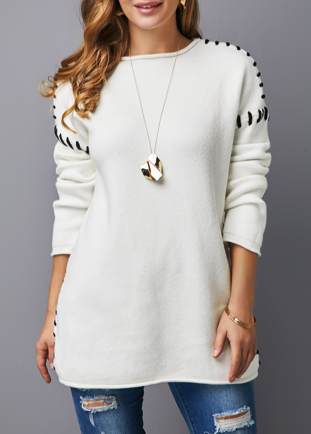 Long Sleeve Round Neck White Sweater