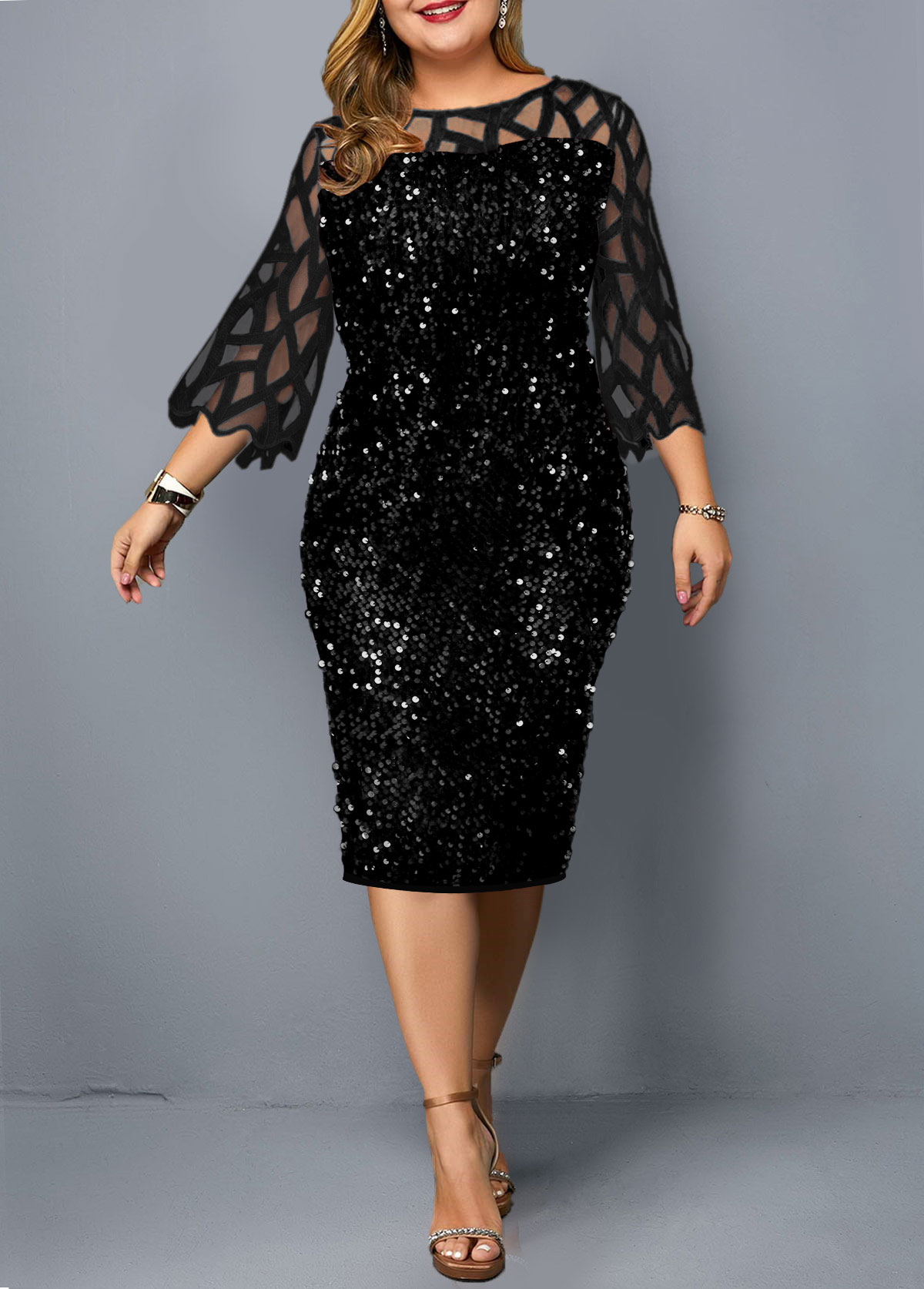 Plus Size Mesh Panel Sequin Detail Dress