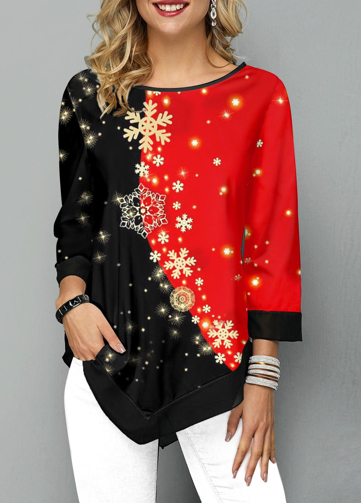 Asymmetric Hem Snowflake Print Color Block T Shirt