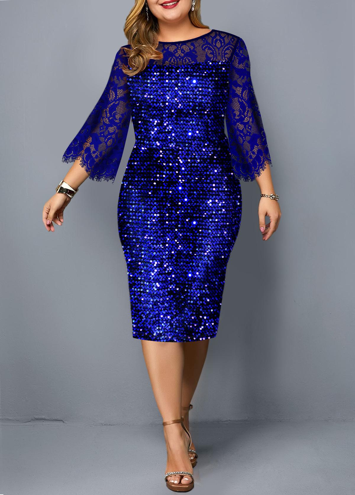 Plus Size Lace Panel Sequin Detail Dress